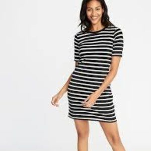 Old Navy Fitted Crew-Neck Striped Tee Dress NWOT